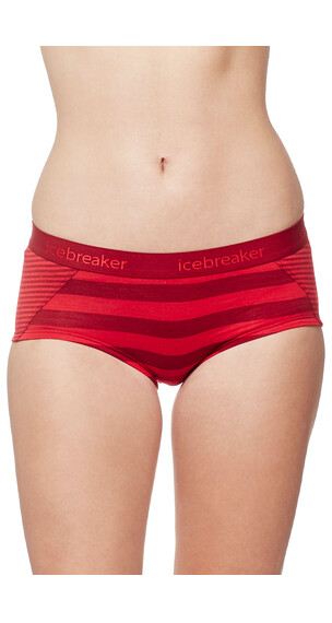 Icebreaker Sprite Hot Pants Women oxblood/rocket/stripe